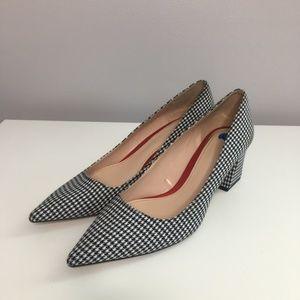 Zara Black & White Houndstooth Pointed Toe Heels